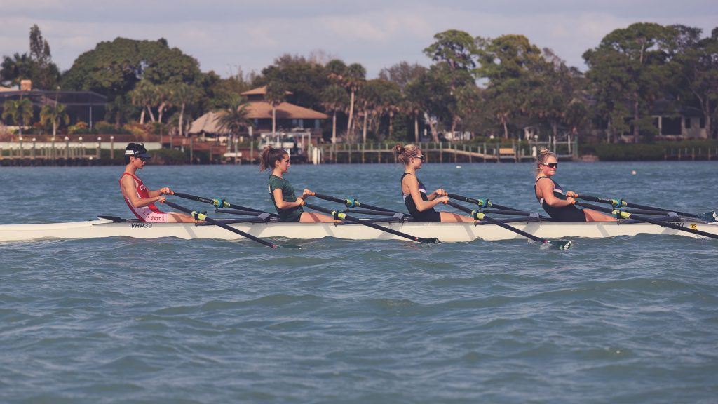 Mixed quad with rowers at the release