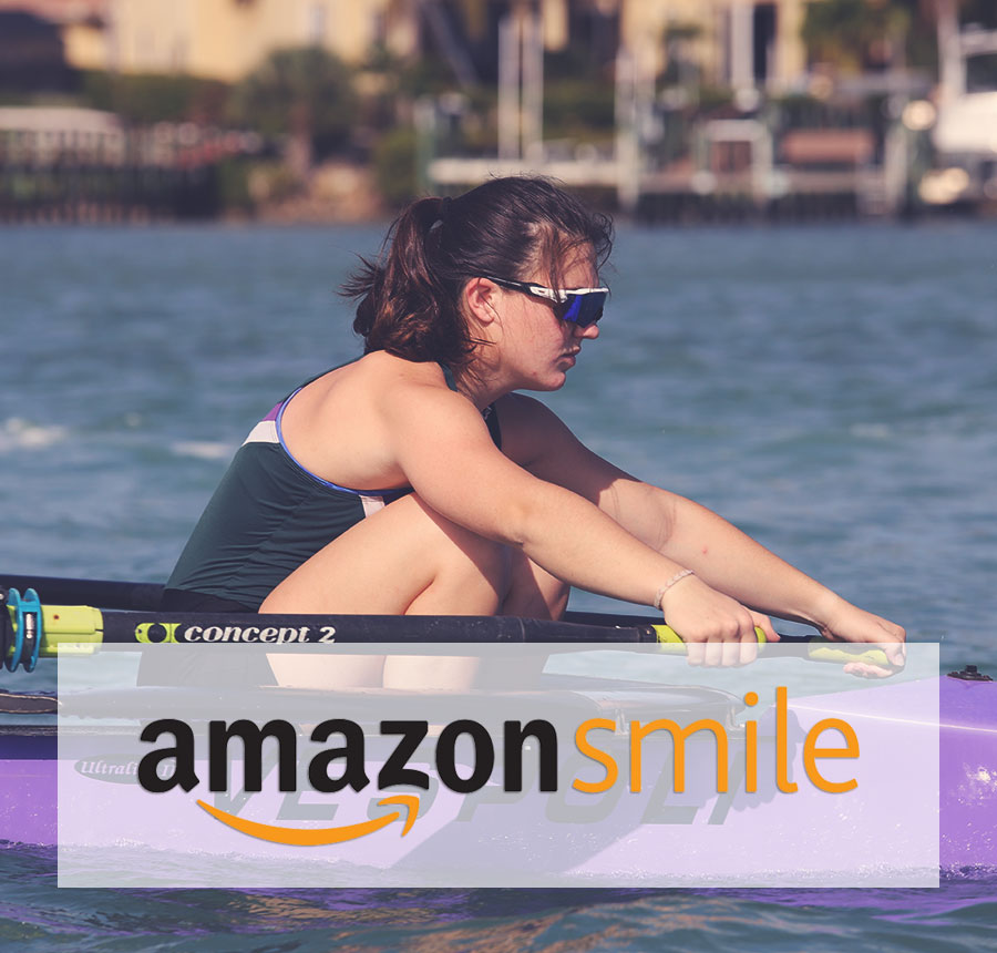 Female rower almost at the catch with amazon smile logo overlay